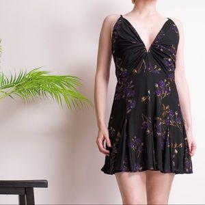 NBD Revolve Aida florlal plunging mini dress
